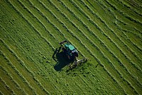 Aerial view, agricultural landscape, tractor mowing meadow, Hollerdau, Bavaria, Germany, Europe