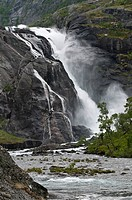 Nykkjesøyfoss waterfall, Kinso River, narrow gorge, rocks, valley of the waterfalls near Kinsarvik, Hordaland, Norway, Europe