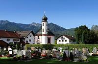 Heilig-Kreuz-Kapelle chapel and cemetery of Schlehdorf on Lake Kochel, Bavaria, Germany, Europe