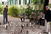 Zurich, Switzerland. Men playing chess in Old Town.