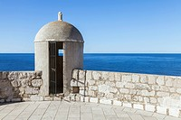 An outpost overlooking the Adriatic Sea on the old city wall in Dubrovnik. A Unesco world heritage site.