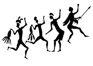 Primitive figures looks like cave painting _ primitive art _ vector