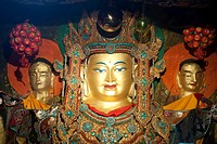 Tibetan Buddhism, old golden rock relief of Buddha, Palha Lu_Puk Monastery, Lhasa, Himalayas, U_Tsang, Central Tibet, Tibet Autonomous Region, People´...