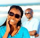 Beautiful African American girl looks towards camera