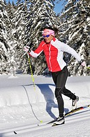 Evi Sachenbacher_Stehle, cross_country skiing, Hemmersuppenalm alp, Reit im Winkl, Chiemgau region, Bavaria, Germany, Europe