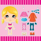 Sweet and cute blonde fashion girl clothes collection set