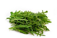 Fresh Rucola Salad on bright background