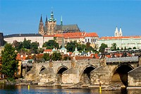 View on the Prague Castle and the Charles Bridge in Prague, Czech Republic.