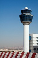 Air traffic control tower, viewed from the ground.