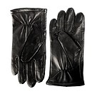 Pair of new men´s black leather gloves isolated on white.