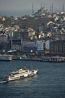 Panoramic view from the Galata Tower, Kuelesi to the Sultan Ahmed Mosque or Blue Mosque and the Sarayburnu Pier, Istanbul, Turkey, Europe, PublicGroun...