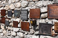 Plaques, mountaineers' cemetery in Johnsbach, Gesaeuse, Ennstal Alps, Upper Styria, Styria, Austria, Europe,