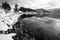 A B&W winter scenic of Lake Coeur d´Alene in northern Idaho at Higgens Point.