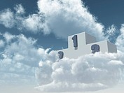 winner podium in cloudy sky _ 3d illustration