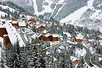 A view of the Meribel ski resort after snow storm