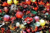 Background of christmas ornaments on tree