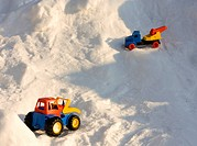 Toy cars in snow