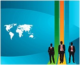 background template vector for creating presentations with the world map and businessmen silhouette