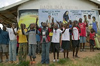 A group of HIV/AIDS infected children sing song about AIDS at the Pepo La Tumaini Jangwani, HIV/AIDS Community Rehabilitation Program, Orphanage & Cli...