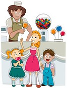 Illustration of Kids Buying Candies from a Candy Shop