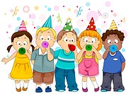 Illustration of Kids Celebrating New Year