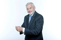 expressive portrait of a handsome senior businessman on isolated backgroun