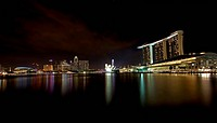 Night scene of financial district, Singapore. From the river