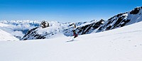 Skier in the Stubai Alps, Zischgeles, Tyrol, Austria, Europe