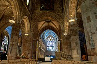 Scotland, Edinburgh, along The Royal Mile. St. Giles´ Cathedral aka High Kirk Gothic interior.