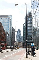 Cityscape with bike rental station, Swiss Re Tower or the Gherkin skyscraper, Bishopsgate, London, England, United Kingdom, Europe, PublicGround