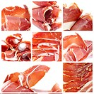 a collage of eight pictures of jamon serrano