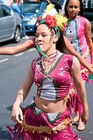 Dancers having fun at the Nottingham City Carnival, 2007,