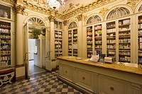 europe, italy, tuscany, siena, ancient pharmacy of the liserani family, interior dated beginning 1800