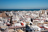 View from the Torre Tavira on the roofs of the old town of Cadiz, Andalusia, Spain, Europe