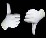 Hands in white gloves isolated on a black background