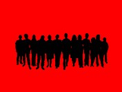 Illustrated crowd of people over a red background