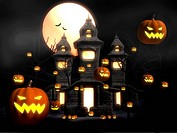 Halloween misty night at castle 3d illustration