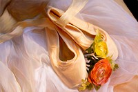 Ballet pointe shoes with a white drape and flowers. Created in Corel Painter.