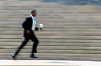 Businessman Running Past Steps