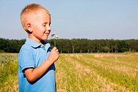 4 years boy smelling daisy flower on a field