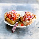 Red onion,tomato and tuna Bruschetta