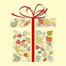 Autumnal gift with colorful leaves for seasonal design