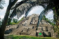 Structure N10-43, also known as El Castillo Maya temple ruins at Lamanai 300BC - 1500AD Lamanai Belize.