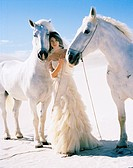 Young Woman with White Horses