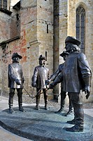 Statue of d´Artagnan and The Three Musketeers at Condom, Pyrenees, France