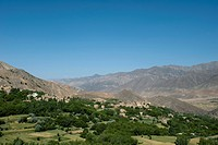 A village and terraced fields of wheat and potatoes in Panjshir valley