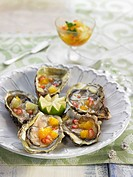 Oysters with citrus fruit and pomegranate dressing