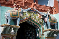 The entrance to the Palace is flanked by sculptures of elephants, Kota, Rajasthan, India, Asia