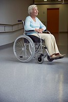 Patient sitting on wheelchair