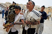 Thora, Bar Mitzvah, ceremony Western Wall Jerusalem Israel.